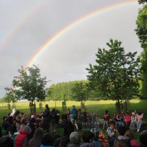 Foto Regenbogen überm Lagerfeuer