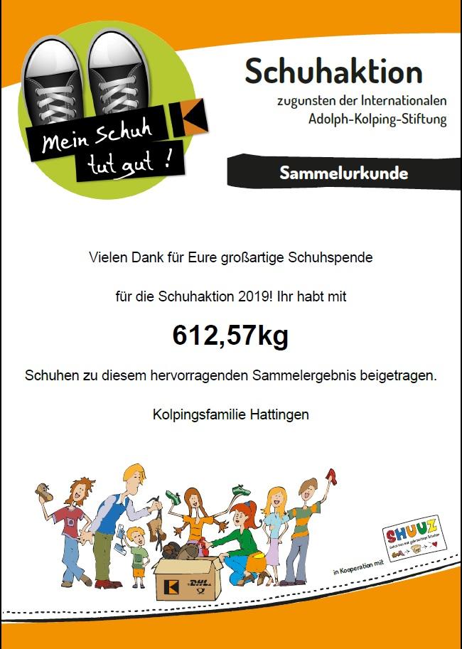Urkunde Schuhaktion 2019